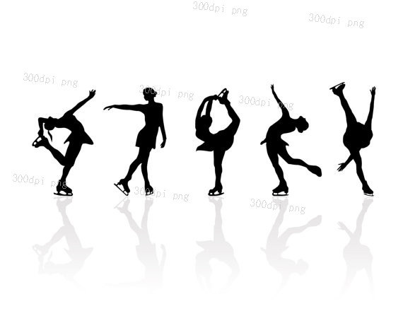 570x464 Ice Skating Silhouette Digital Clipart Vector Eps Png Files