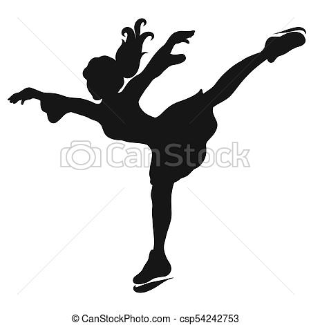 450x470 Silhouette Of A Girl Skating On Ice Stock Illustrations