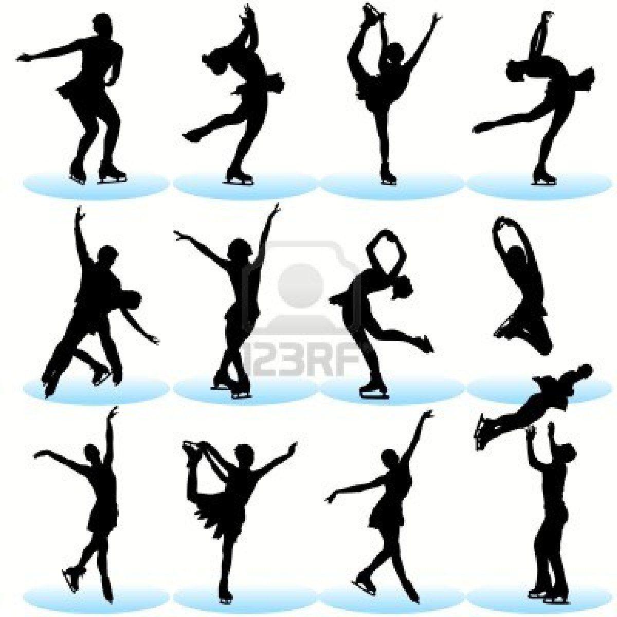 1200x1200 Figure Skating Silhouettes Set Torte Silhouette