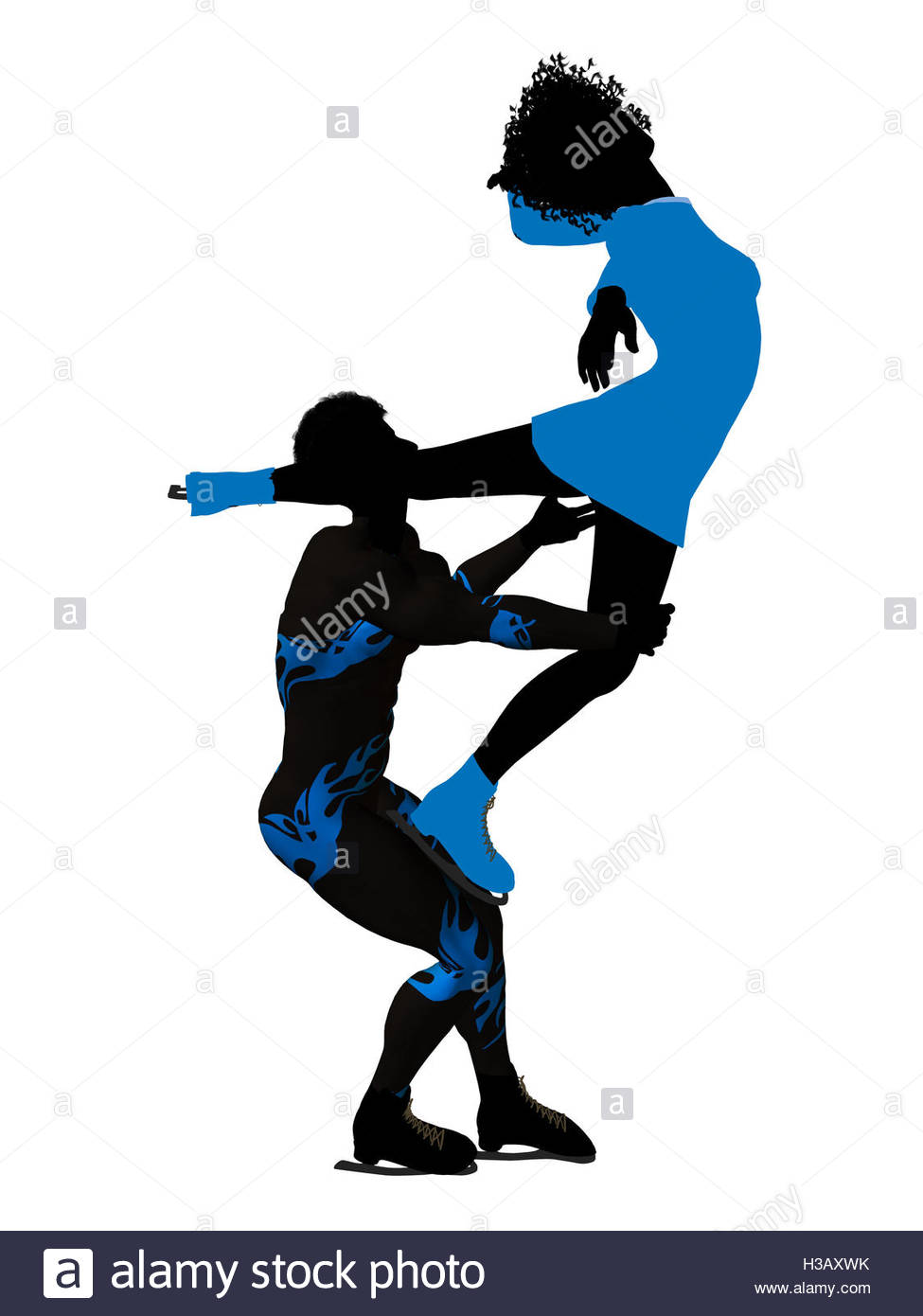 975x1390 African American Couple Ice Skating Silhouette Stock Photo