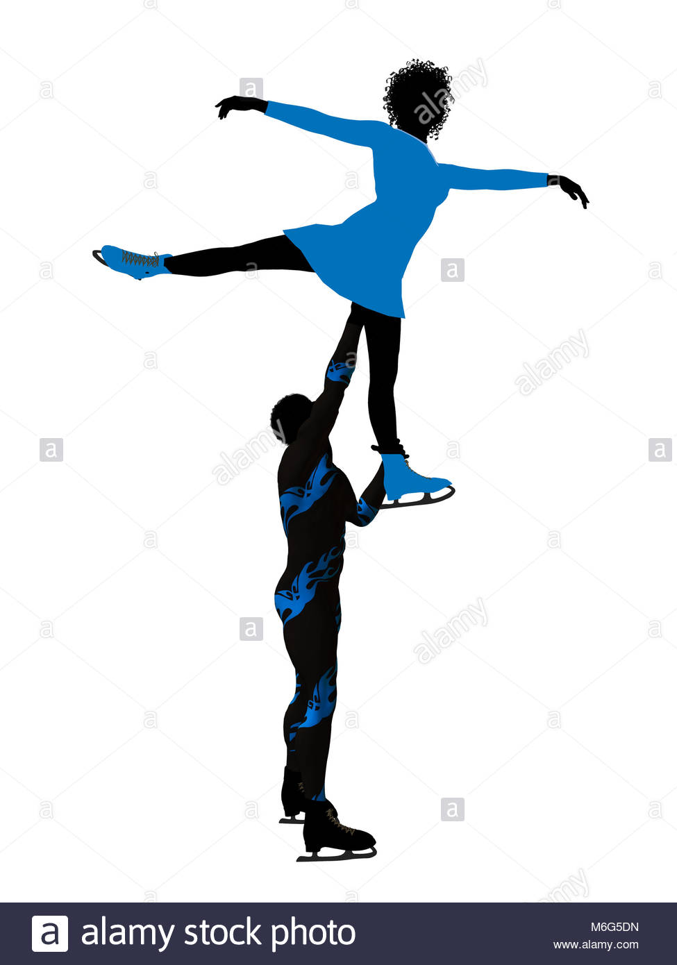 975x1390fricanmerican Couple Ice Skating Illustration Silhouette On