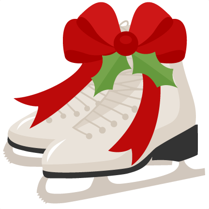 432x432 Christmas Ice Skates Scrapbook Cut File Cute Clipart Files