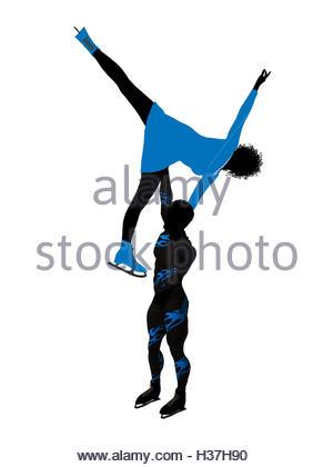 300x420 African American Female Ice Skater Art Illustration Silhouette