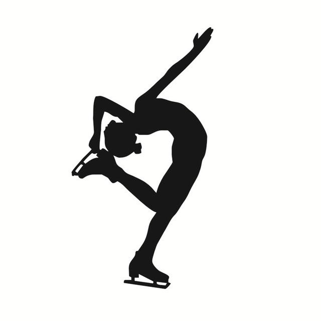 640x640 Silhouette Girls Ice Skater Dance Wall Sticker Self Adhesive Art