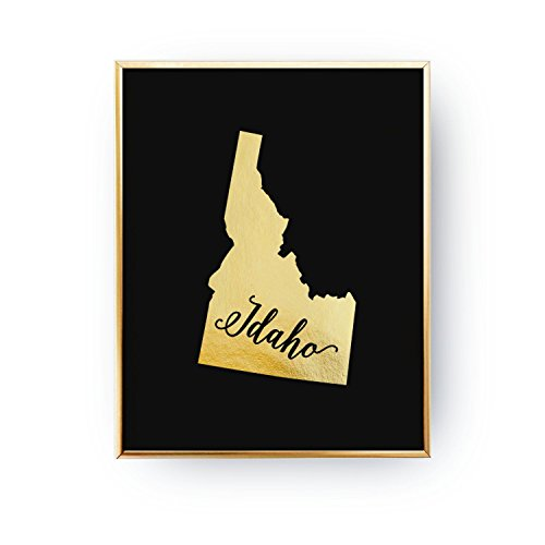500x500 Idaho State Print, Real Gold Foil Print, Usa State