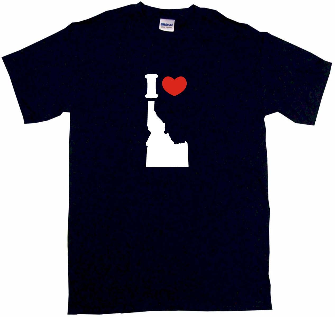 1267x1197 I Heart Love Idaho Silhouette Womens Tee Shirt Pick Size Color