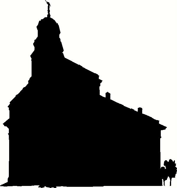 600x637 Illinois Nauvoo Temple Silhouette Wall Sticker, Vinyl Decal
