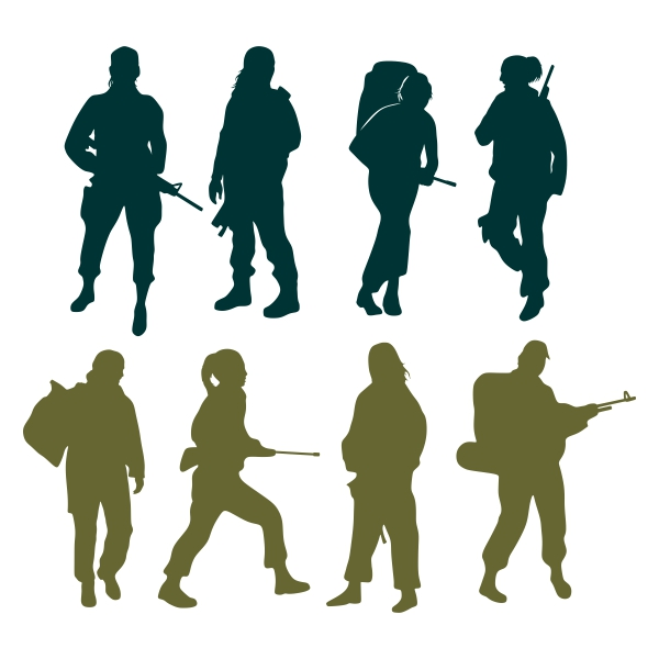 600x600 Female Soldier Cuttable Design Cut File. Vector, Clipart, Digital