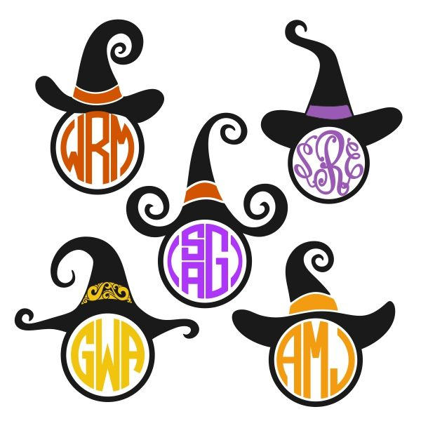 600x600 Witch Hat Cuttable Frame Cut File. Vector, Clipart, Digital