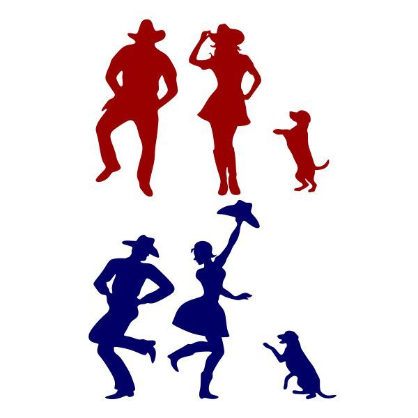 600x600 Dancing Cowboy Cowgirl And Dog Cuttable Design Cut File. Vector