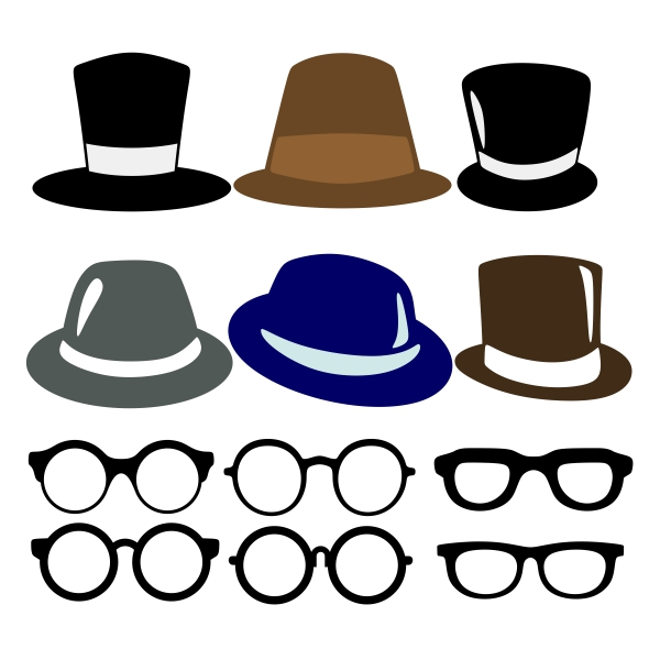 600x600 Glasses And Hats Cuttable Design Cut File. Vector, Clipart