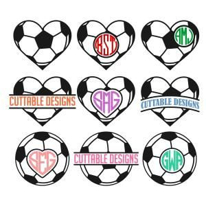300x300 Soccer Heart Frame Svg Cuttable Design Cut File. Vector, Clipart