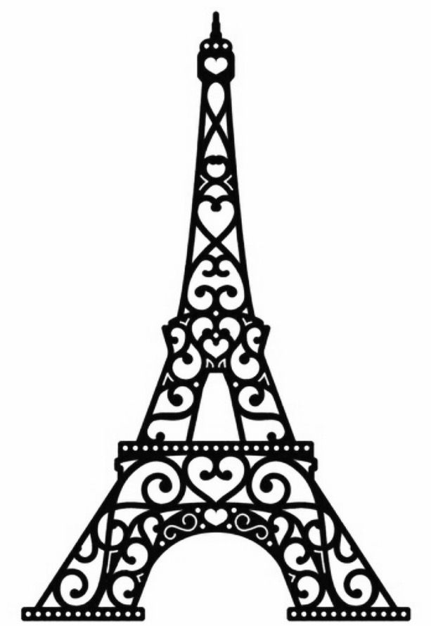 613x890 Contemporary Design Eiffel Tower Silhouette Clipart Free Vector