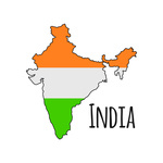 150x150 India Map Silhouette In Flag Colours Vector Image