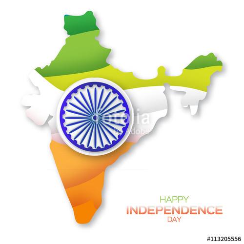 500x500 Indian Independence Day. Celebration Background With Ashoka Wheel
