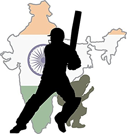 439x463 India Map Cricket Player Home Decal Vinyl Sticker 12