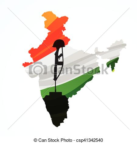 450x470 Map Of India With Amar Jyoti Eps Vector