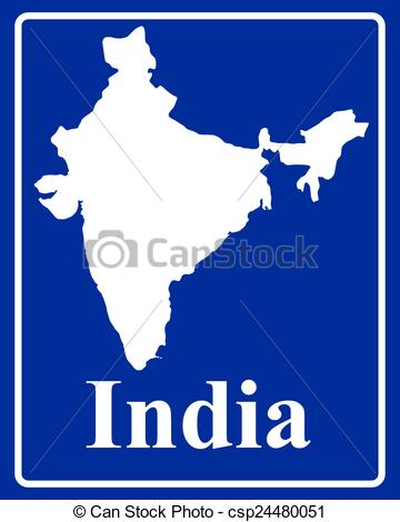 360x470 Sign As A White Silhouette Map Of India With An Inscription