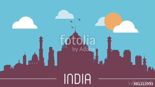 500x281 India Skyline Silhouette Flat Design Vector Stock Image