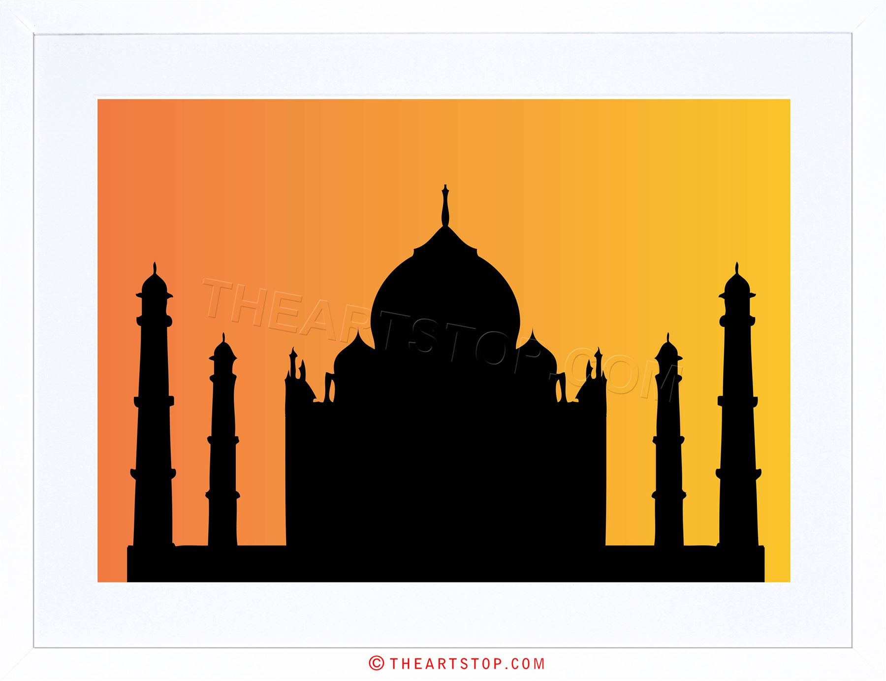 1800x1383 Painting Taj Mahal Agra India Silhouette Graphic Framed Print