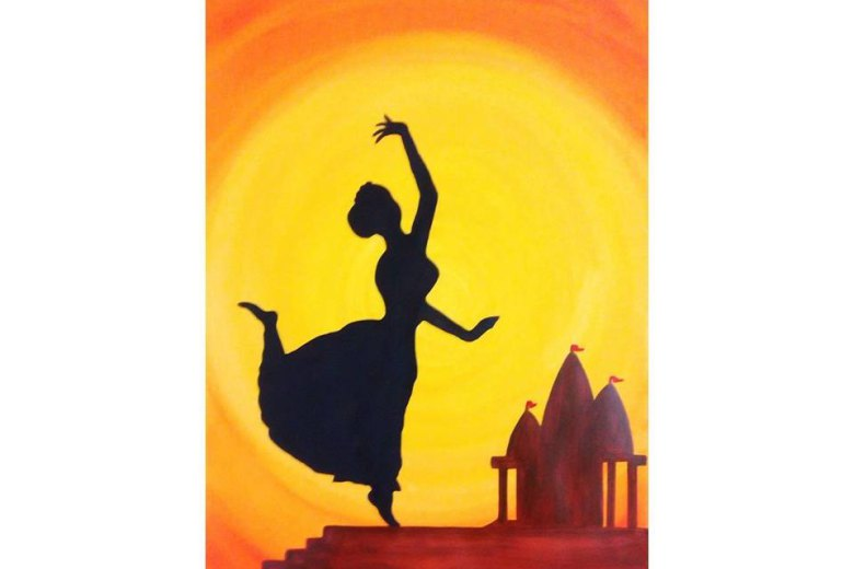 780x520 Indian Dance Silhouette Painting Print Home Decor By Colormela