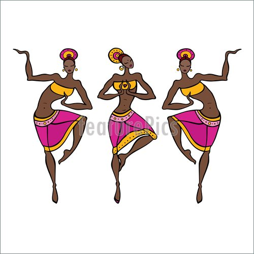 500x500 Dancing Woman In Ethnic Style. Illustration