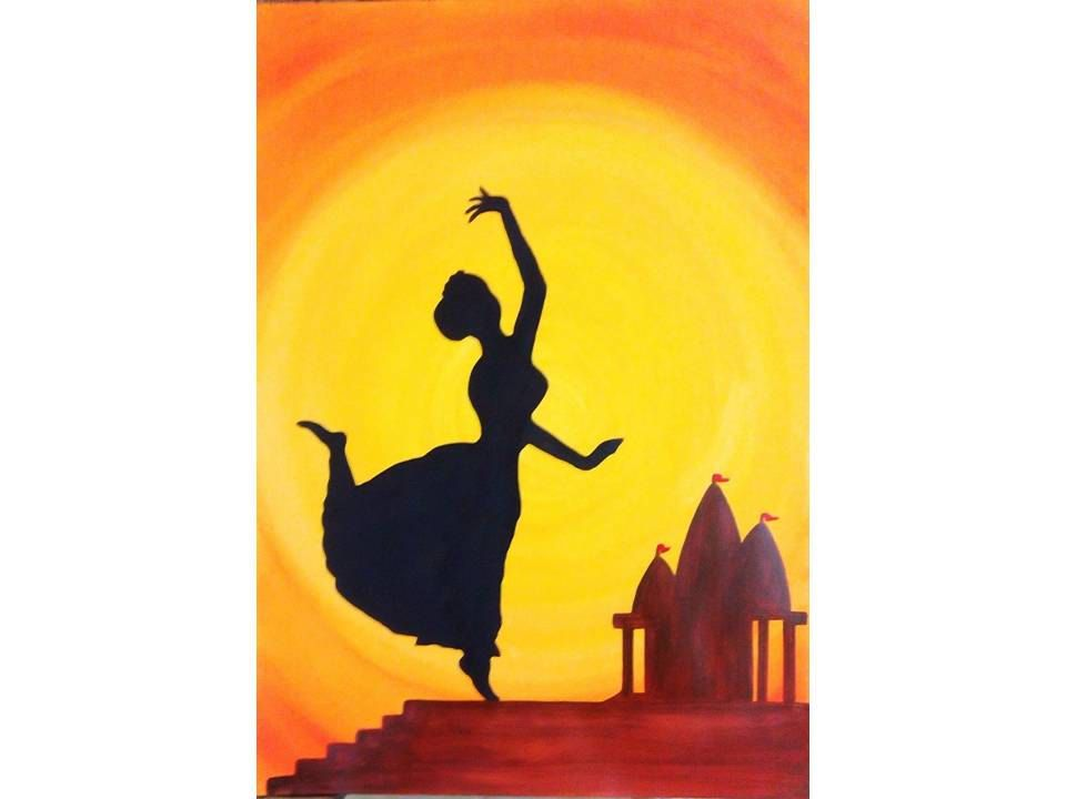 960x720 Indian Dance Silhouette Painting Print, Home Decor, Wall Hanging