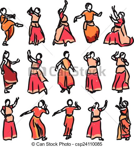 429x470 Vector set of isolated contour silhouettes indian dancers vector