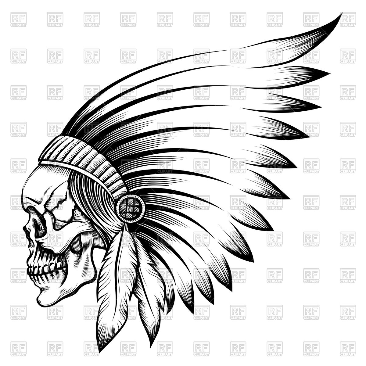 1200x1200 Native American Indian Apache Skull With Feather Headdress Royalty