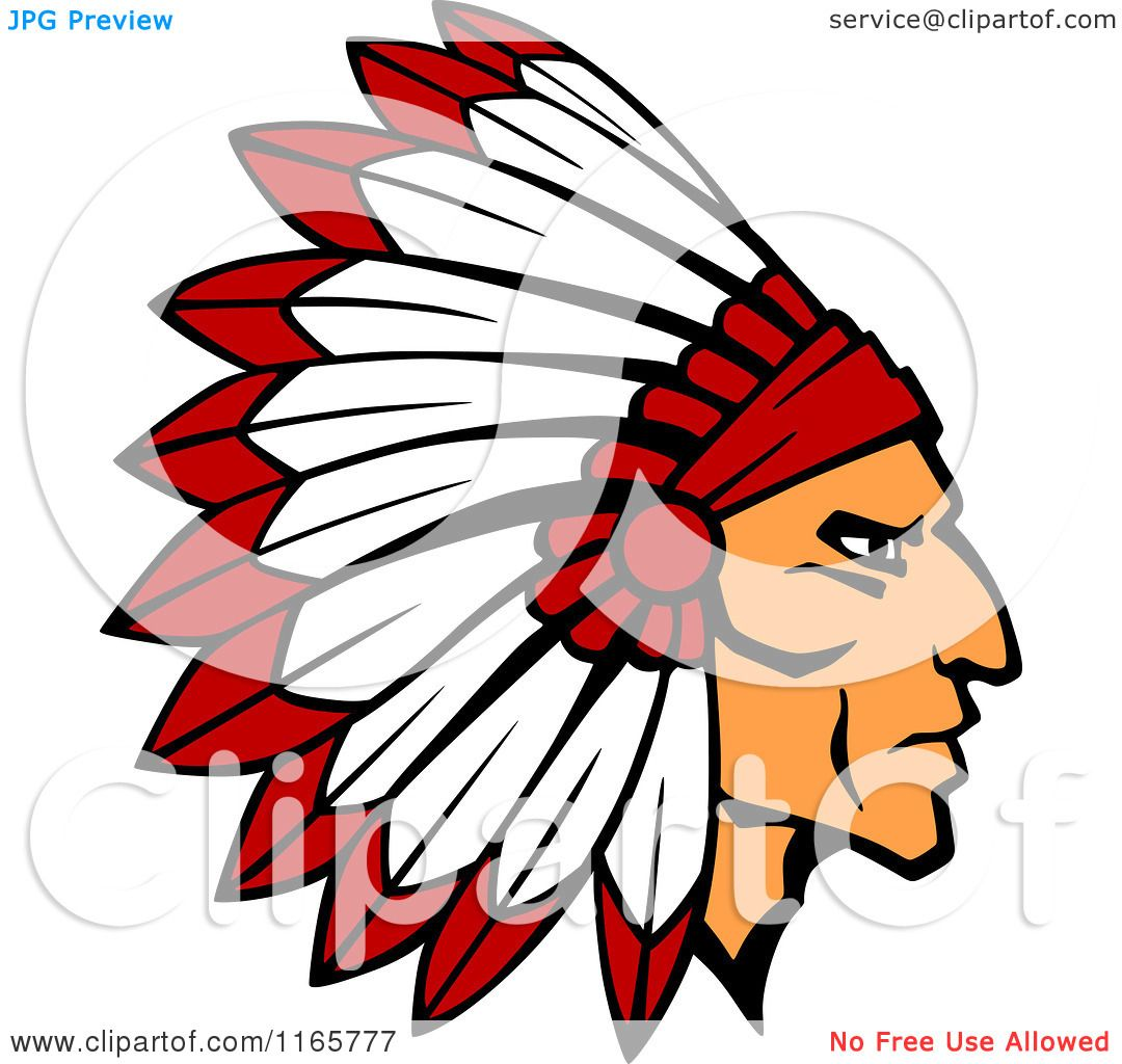 1080x1024 Clipart Of A Native American Brave With A Red And White Feather