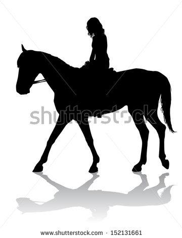 360x470 Girl Horse Silhouette Clipart