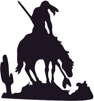326x350 End Of The Trail Indian On Horse Silhouette Decal Customized