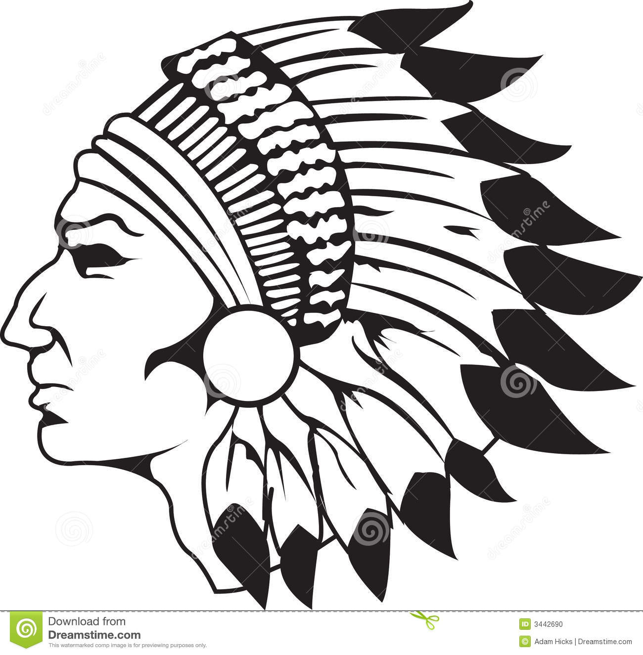 1300x1325 Indian Head Silhouette Clipart