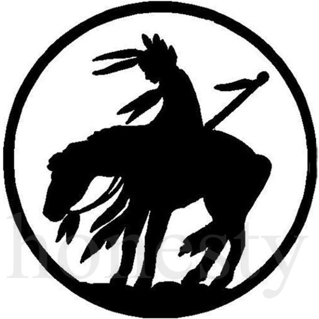 640x640 Indian On Horse Rider Car Silhouette Car Sticker Laptop Truck Home