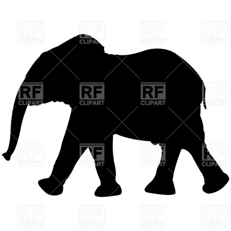 453x453 Adult And Calf Indian Elephant Silhouette Royalty Free Vector Clip