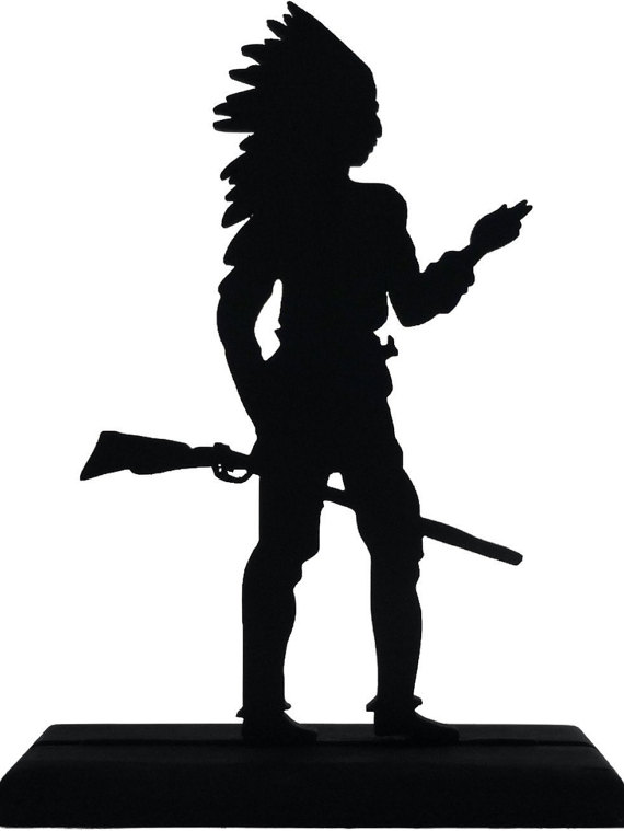 570x759 Standing Indian Holding Rifle Handmade Display Wood Silhouette