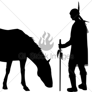 325x325 American Indian Silhouette With Horse Gl Stock Images