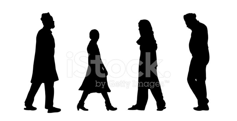 800x410 Indian People Walking Silhouettes Set 6 Stock Photos