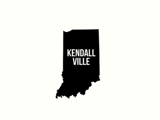 549x413 Kendallville, Indiana Silhouette Art Prints By Cartocreative