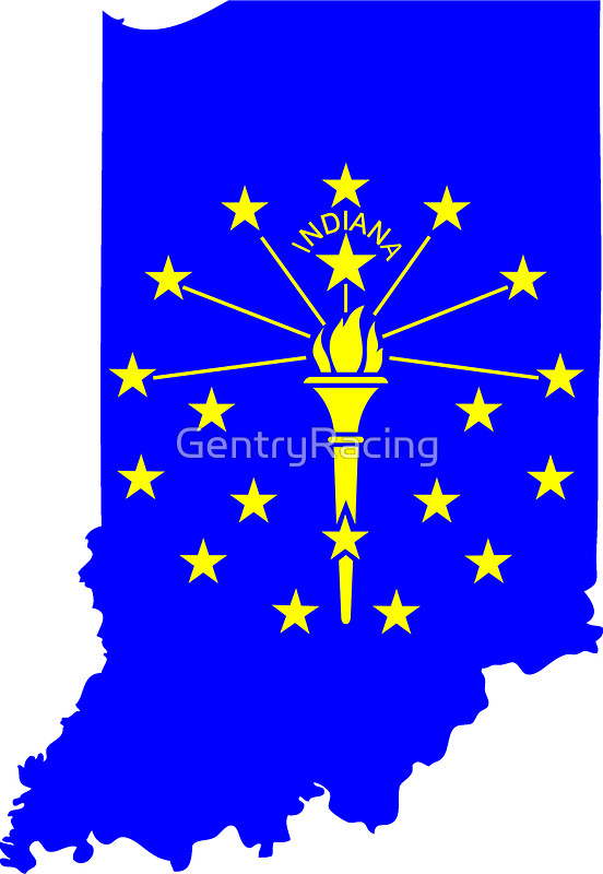 552x800 State Of Indiana Silhouette And Flag Stickers By Gentryracing