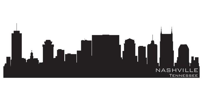 700x350 Nashville, Tennessee Skyline. Detailed Vector Silhouette Wall