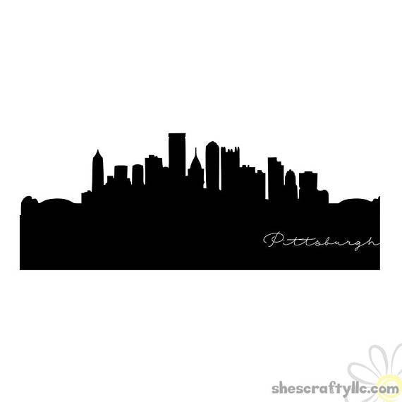 570x570 Pittsburgh Pennsilvania City Skyline Silhouette With Script