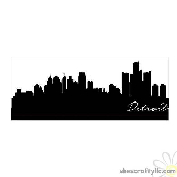 570x570 Detroit City Skyline Silhouette With Script