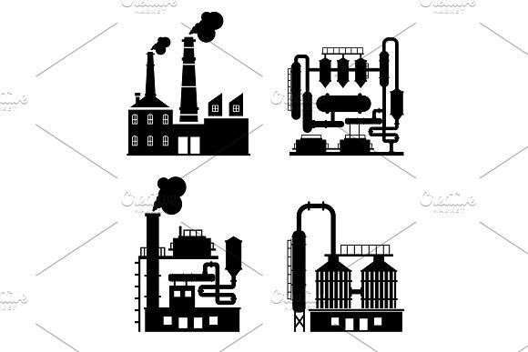 580x387 Industrial Building Factory And Power Plants Icon Set.