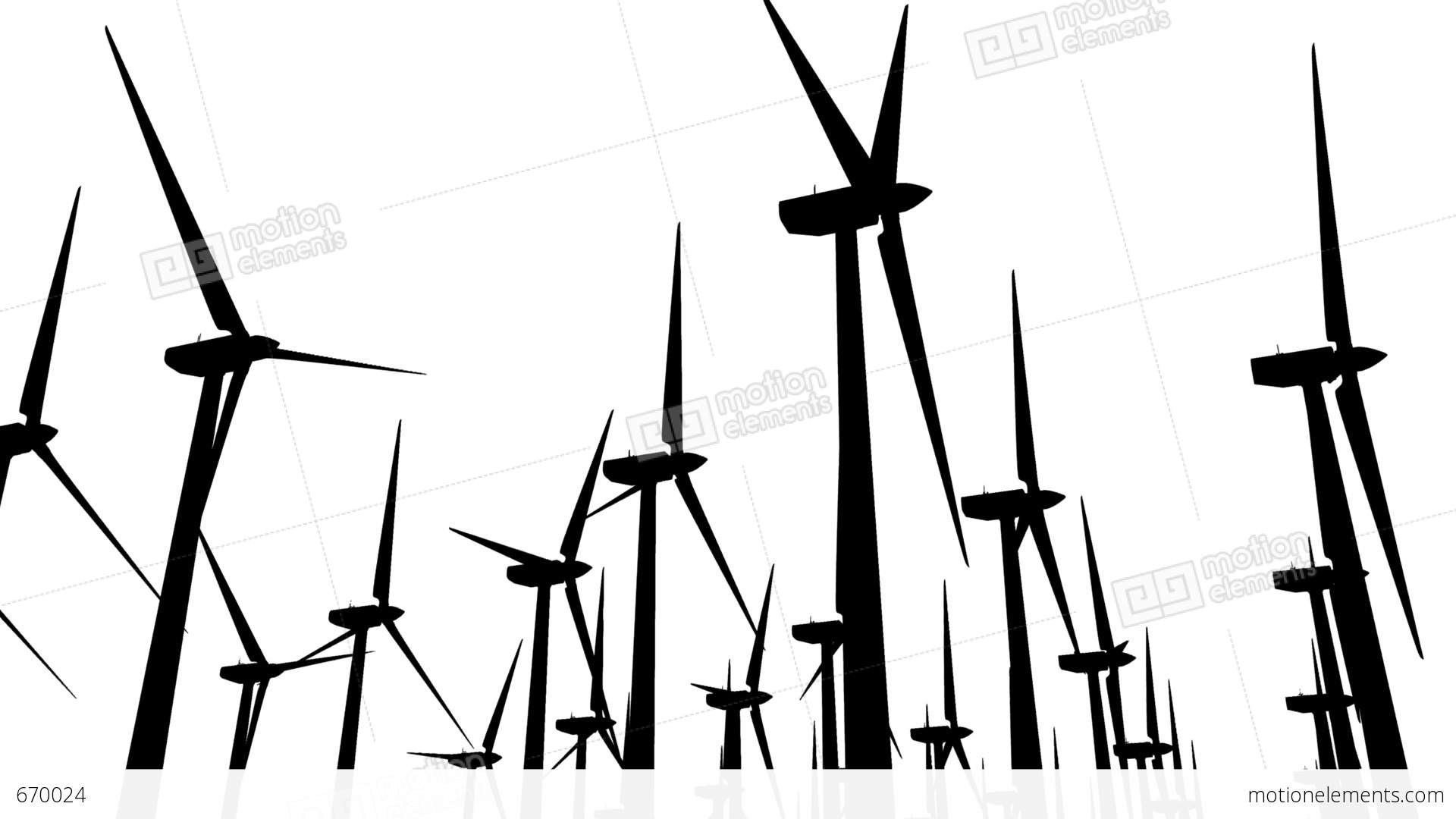 1920x1080 Wind Turbines Silhouette 04 Loop Stock Animation 670024