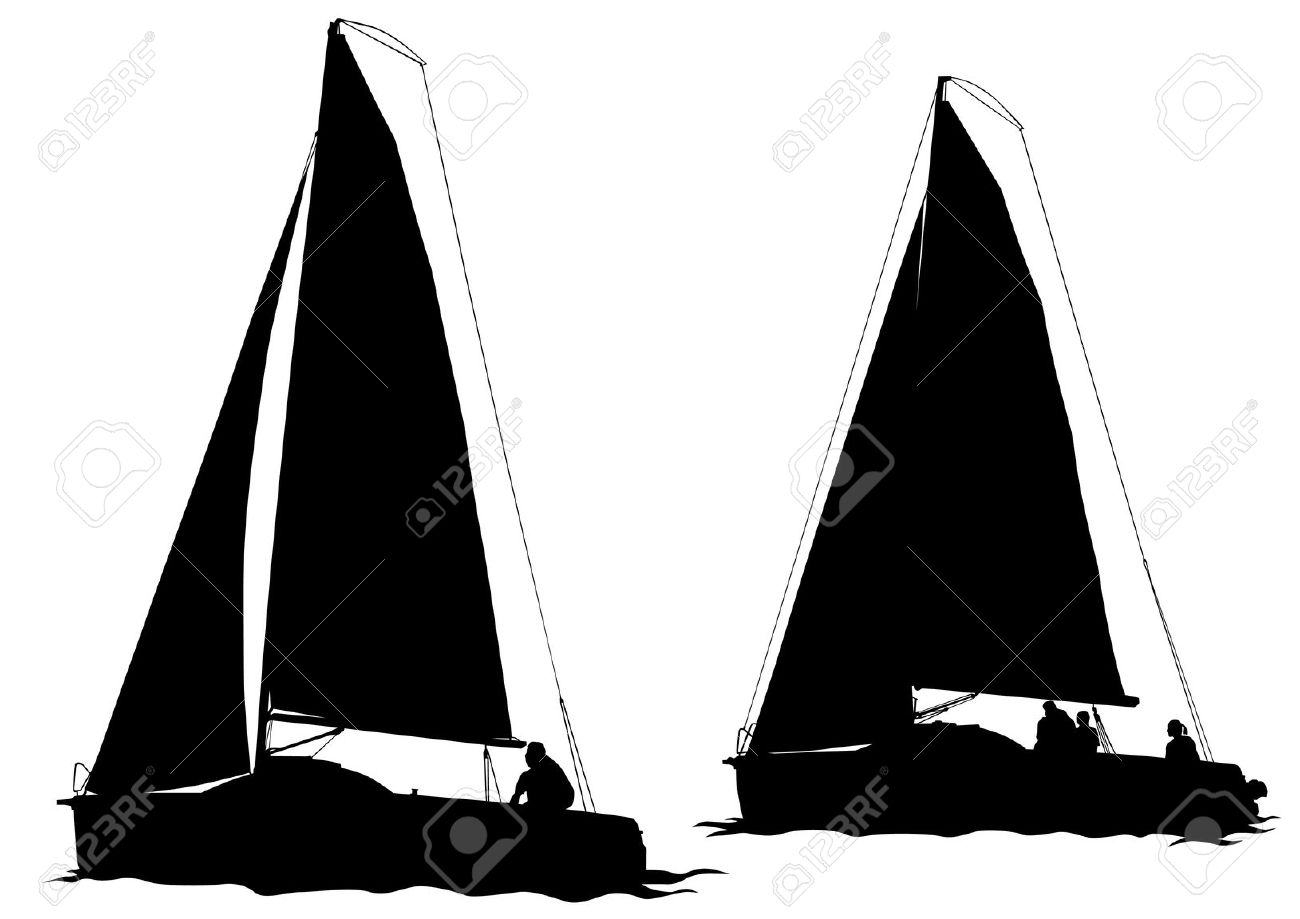 1300x919 Drawn Sailing Boat Silhouette