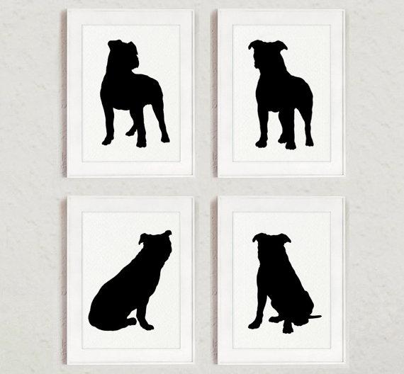 570x528 Pitbull Set Of 4 Dog Home Decor Pit Bull Silhouette Ink