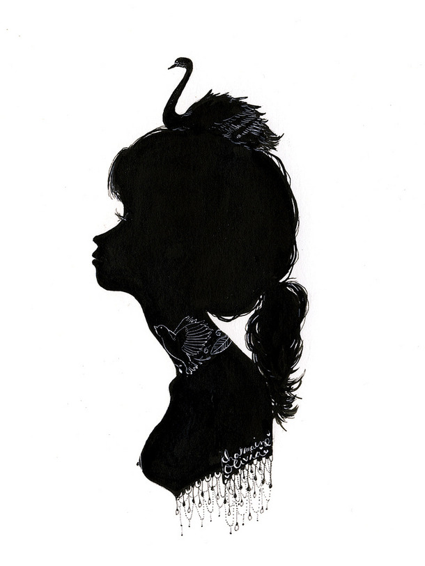 610x812 Girl, Illustration, Ink, Pretty, Silhouette, Swan