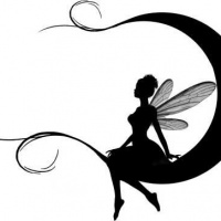 200x200 Awesome Black Ink Fairy Silhouette Sitting On Curly Ended Moon