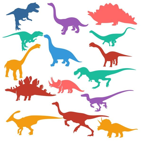 600x600 Dino Silhouettes Cuttable Design Cut File. Vector, Clipart